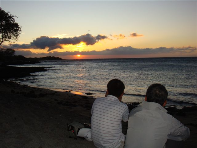 Father and Son at Anaehoomalu Bay